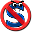 "A blue letter S with eyes and teeth of a snake is confined in the red circle with a diagonal line through that has come to symbolize the word ""No"""